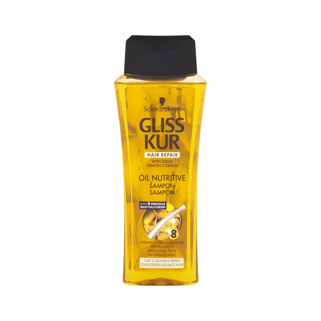 Schwarzkopf Gliss Kur Oil Nutritive, regenerační šampon pro delší a dlouhé vlasy s třepícími se konečky, 250 ml