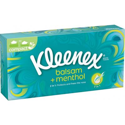 Kleenex Balsam Menthol Box 3vrstvé papírové kapesníky, 72 ks