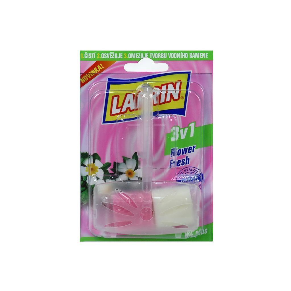 Larrin Plus 3v1 Flower Fresh WC blok včetně držáku, vůně květin, 40 g