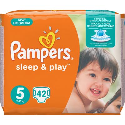 Pampers Sleep & Play 5 Junior dětské pleny pro 11 až 16 kg,  42 ks