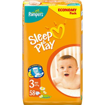 Pampers Sleep & Play 3 Midi dětské pleny pro 5 až 9 kg,  58 ks
