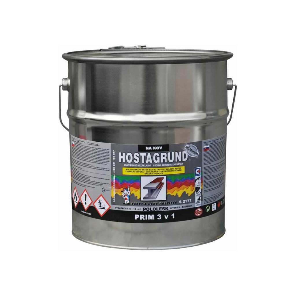 Hostagrund Prim 3v1 S2177 základní i vrchní barva na kov, 0131 šedá, 9 l