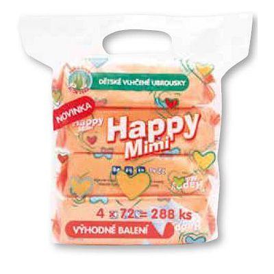 Happy mimi dětské vlhčené ubrousky extra jemné 4x72ks