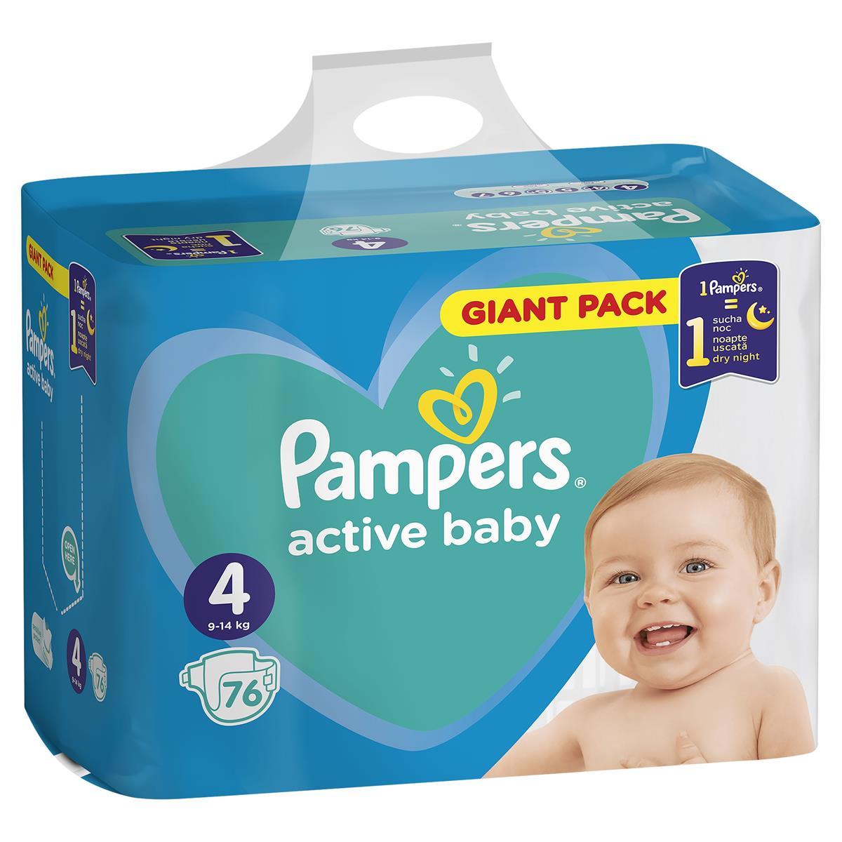 Pampers active baby 76ks plenkové kalhotky Maxi 9-14kg