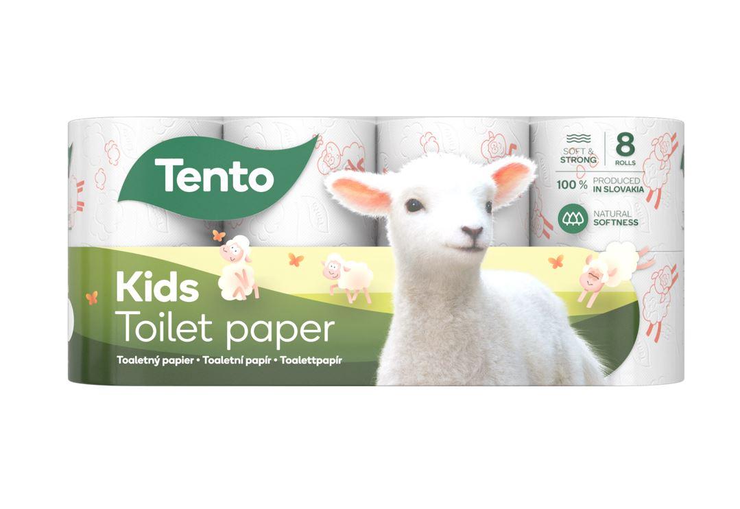 Tento Kids Panda 3vrstvý toaletní papír, role 150 útržků, 8 rolí