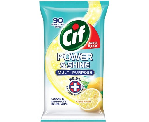 Cif Power & Shine antibakeriální ubrousky ničí 99,9 % bakterií 90 ks